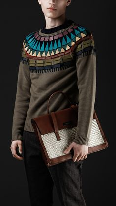 This sweater is a beautiful example of Egyptian influences in today's fashion. The collar on this sweater is clearly referencing the neck and shoulder pieces worn by ancient Egyptian Pharaohs. This differs from the 1920's because while they were using Egyptian prints, among other things, they never went so far as to recreate the shoulder piece in such a modern way. -Marissa Smith