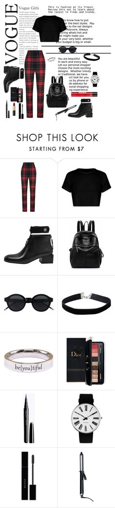 """""""Untitled #33"""" by parsonsjayda ❤ liked on Polyvore featuring Burberry, Miss Selfridge, Pink Box, Estée Lauder, Rosendahl, Gucci, GHD, Sexy Hair, casualbeauty and tartanpower"""
