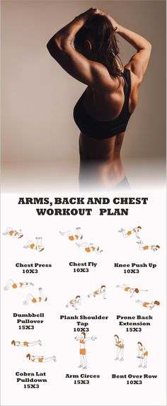Arms, Back and Chest Workout Arms And Back Workout At Home, Chest And Arm Workout, Chest Workout Women, Chest Workout Routine, Back Workout Women, Arm Workouts At Home, Mini Workouts, Gym Workouts Women, Quick Workouts