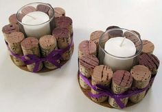 Deko-Kerzenhalter selber machen, Weinkorken Bastelidee