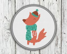 Little Fox Cross Stitch Pattern Animals Needlepoint Pattern