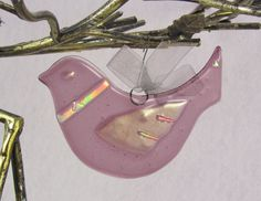 Fused Glass Dove Ornament - Plum Purple Bird with Dichroic Glass Accents. $19.50, via Etsy.