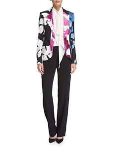 Orchid-Print+One-Button+Jacket,+Sleeveless+Pleated-Front+Blouse+&+Tovah+Straight-Leg+Trousers+by+Escada+at+Neiman+Marcus.