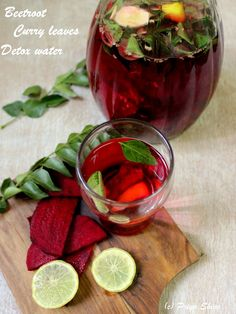 Beetroot Curry leaves Detox water - A healthy, #detox #drink with beetroot, curry leaves, lemon and ginger.