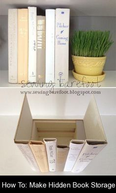 How To: Make Hidden Book Storage {75915} #hidden #storage #hiddenstorage Shannon had a bunch of old hardcover books on hand, so she decided to use a handful of them to create a hidden storage compartment. Besides the books, she used a small wooden crate, a hot glue gun, an X-acto knife, and a scissor. To make the process less painful for both us and the books, we'd look for books with broken bindings and those destine for the garbage heap. (It's true that not all books are welcomed donations… Book Storage, Hidden Storage, Storage Hacks, Storage Ideas, Apartment Hacks, Dream Apartment, Small Wooden Crates, Hidden Book, Storage Compartments