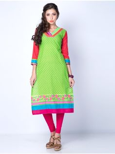 Buy Green Cotton Kurti With Print Work Online - Saree.com