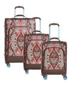 Look at this  zulilyfind! Brown Travel Trolley Luggage Set - Set of Three… 97a99e91379e3