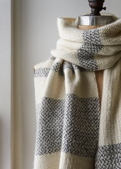 Peppered Stripes Wrap - Purl Soho - linen stitch for that extra wide, extra long wrap scarf I'm liking