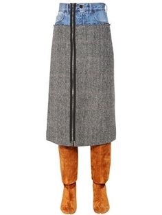 New Maison Margiela Patchwork Denim and Wool Tweed Skirt fashion online. [$1075]wooclo top<<