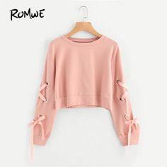 40e8679b1093 ROMWE Eyelet Lace Up Sleeve Crop Sweatshirt Autumn Pink Round Neck Cute  Pullovers 2018 Women Long. Tumblr PulloverSweat ShirtCrop Top ...