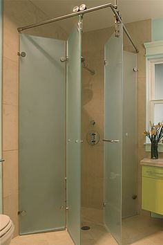 Wide-Open Baths for Small Spaces - Fine Homebuilding Article - -Foldaway Shower Stall. Wide-Open Baths for Small Spaces - Fine Homebuilding Article - - Small Bathroom, Tiny Bathrooms, Open Baths, Bathrooms Remodel, Shower Doors, Trendy Bathroom, Bathroom Design, Remodel Shower Stall, Shower Door Designs