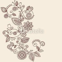 Elegant Henna Vines Doodle Vector Illustration
