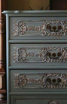 .amazing blue vintage dresser