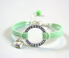 Pick Color / Size  Silver Volleyball Bracelet Faux Suede Leather Cord - Volleyball Sport Bracelet  - Charm Jewelry  Gift - Made in Canada