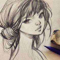 Morning sketch. #art #artistsofinstagram #sketch #sketchbook #graphite #pencil #drawing #girl #loish