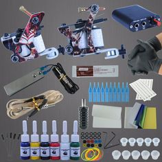 Complete Tattoo Machine Set 2 Coils Guns 6 Colors Black Pigment Sets Power Tattoo Beginner Kits Permanent Makeup Tattoo Kit