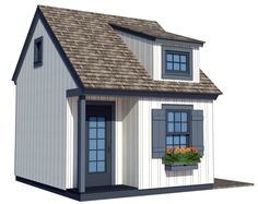 The traditional playhouse plans include a loft as well as a separate storage room on the back side. It also has an adult size door on the side. Kids Playhouse Plans, Outside Playhouse, Backyard Playhouse, Build A Playhouse, Outdoor Playhouses, Building A Shed, Building Plans, Building Ideas, Cabana