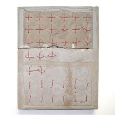 Marlies Hoevers : Ceramic and Red thread Concrete Art, Cement, Abstract Expressionism, Abstract Art, Dutch Artists, Sketchbook Inspiration, Mixed Media Painting, White Art, Painting Techniques