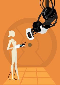 Portal illustration retro print A3 poster Portal GLaDOS and Chell
