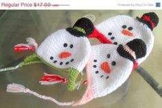 SnowMan Ear Flap Hat by HahnMade on Etsy