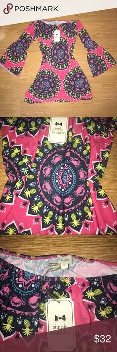NWT • Simply Southern • Off Shoulder Tunic Dress Absolutely gorgeous and flattering dress BNWT  Super comfortable and stretchy material Gorgeous bell sleeves  Wear it flowy or with a belt!   Open to offers  Last photo is same dress but in a different print to show how it looks on! (Model wearing size S) Simply Southern Dresses Mini