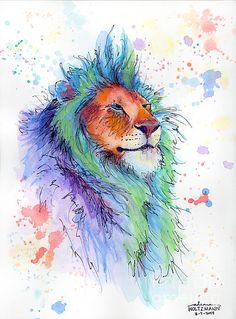Lion watercolor.. I wonder how much detail I can put into a watercolor tattoo?