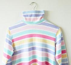 Vintage Pastel Striped Turtleneck / Soft Rainbow Striped Top / 90s Candy Stripe Turtleneck