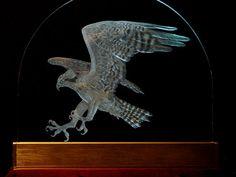 Osprey, Osprey in Flight, Fish Hawk, Hand Engraved, Fine Art, Bird Art, Bird in Flight, Art Glass, Glass Art, Osprey Sculpture, FishHawk Art by CathyMillerDesigns on Etsy