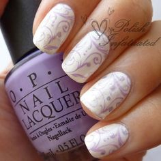 Purple, white and silver nails