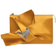 N°21 Women Knotted Satin Clutch W/ Bird Appliqué (661 AUD) ❤ liked on Polyvore featuring bags, handbags, clutches, gold, applique handbags, yellow purse, yellow clutches, yellow handbags and satin handbags