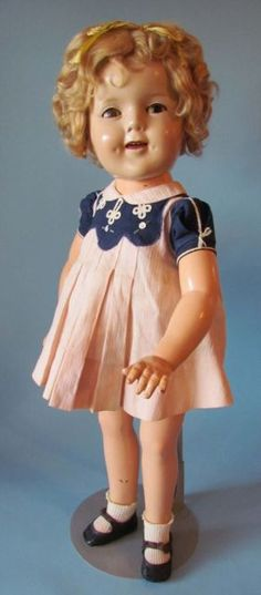 "VINTAGE 27"" FLIRTY ORIGINAL COMPOSITION SHIRLEY TEMPLE DOLL BY IDEAL,"