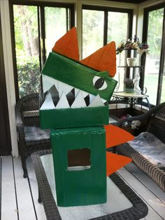 homemade cardboard box dinosaur costume for my 3 year old students