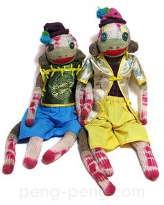 ling + mai tie dyed sock monkeys~Peng Peng Sock Monkeys~
