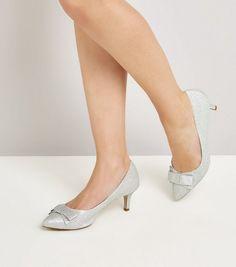 Wide Fit Silver Comfort Glitter Kitten Heels   New Look