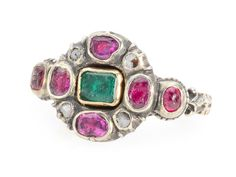 Fabulous Early Georgian Emerald Ruby Ring - The Three Graces