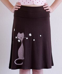 Another great find on #zulily! Brown Sniffing Cat Convertible A-Line Skirt - Women #zulilyfinds