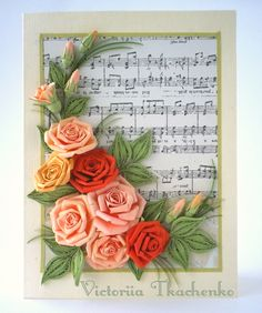 Tenderest Roses in pastel colors - Quilling Card - Anniversary quilling Card…
