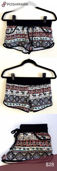 *NWOT* Elephant Boho Shorts Cute Elephant shorts with pockets. Super soft and stretchy. Perfect for Summer! Material: 88% Polyester, 12% Spandex                                                                                                NWOT - New With Out Tag. BRAND NEW!  NOTE: The design on each shorts may be slightly different as the picture.  TRADING PAYPAL Shorts