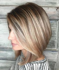 Ash brown bob with blonde balayage