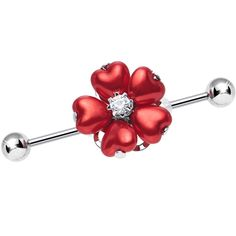 Red Faux Pearl Blossoming Flower of Hearts Industrial Barbell | Body Candy Body Jewelry