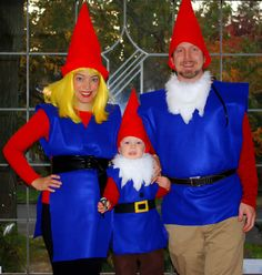 Gnome family costumes. Or couples costume.  Looks relatively easy to make.
