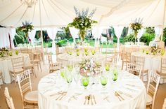The interior of the dinner marquee.