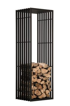 Firewood Rack IRVING Black Metal Log Basket Stand Holder Firepalce Wood Storage | eBay