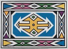 Esther Mahlangu | Works African Tribes, African Art, African Culture, Tribal Patterns, African Patterns, Floral Patterns, Textile Patterns, Arabic Pattern, Pattern Art