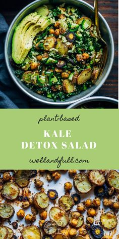 kale detox salad with pesto & detox kale salad Kale Detox Salad, Kale Salad Recipes, Detox Recipes, Detox Meals, Recipes With Kale, Pesto Salad, Kale Pesto, Vegan Breakfast Recipes, Vegetarian Recipes