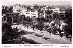 Street in front of the Auto Club. Sarah and Kurt might have traveled this street going back and forth between the Medina and the Anfa hotel. Vintage Postcards, Casablanca Morocco, The Past, Street View, Dawn, Travel, Club, Houses, Morocco