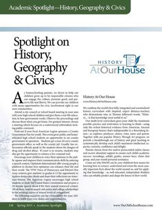Spotlight on History, Geography & Civics - The Old Schoolhouse Magazine - Spring 2015 - Page 136-137