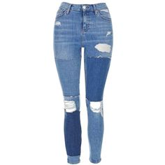 Women's Topshop Moto Jamie Rip Panel Skinny Jeans (305 BRL) ❤ liked on Polyvore featuring jeans, distressed skinny jeans, high waisted skinny jeans, blue jeans, high-waisted skinny jeans and skinny jeans
