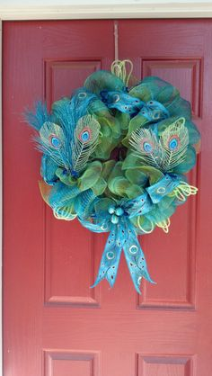Deco Mesh Peacock Wreath
