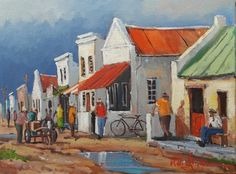 Neighbourhood Chat - District Six - Oil Painting by Willie Strydom . African Artwork, African Paintings, Landscape Paintings, Oil Paintings, Mini Canvas Art, South African Artists, Painting People, Cool Art Drawings, Sketch Painting
